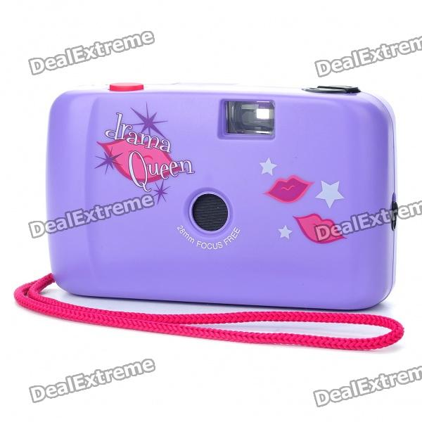 Fashion ABS 28mm Focus Free Camera with Strap - Purple (No Battery Needed)